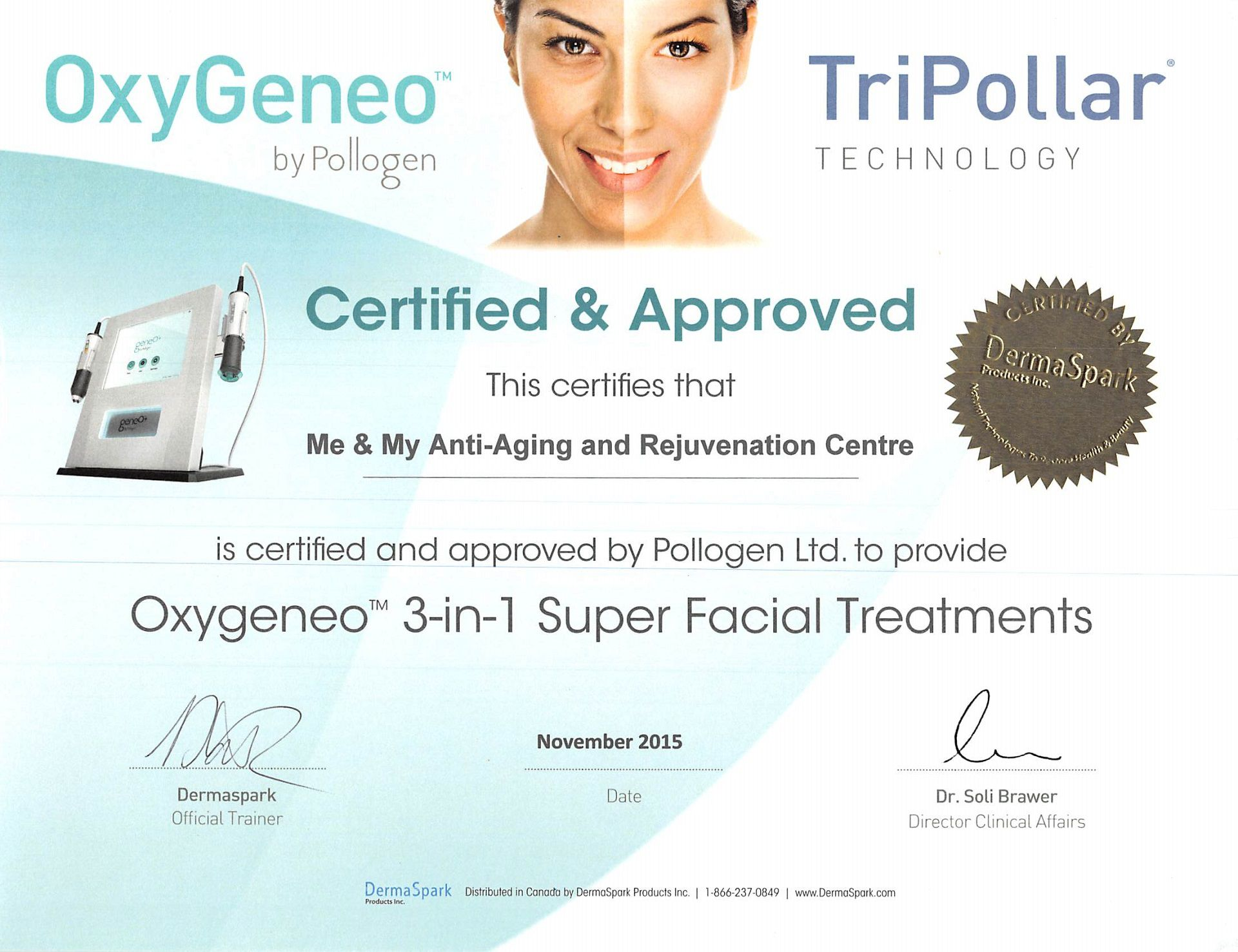 Me & My Anti-Aging and Rejuvenation centre Barrie Oxygeneo Super Facial Treatments certificate